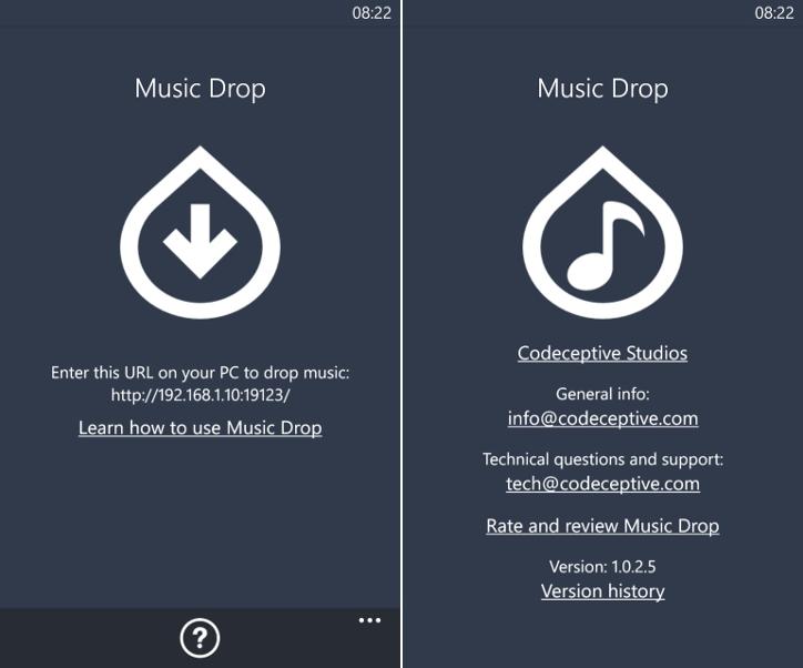 Music Drop - bezprzewodowe przenoszenie muzyki do telefonu Windows Phone