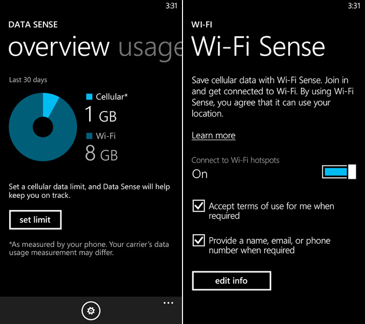 Data Sense i Wi-Fi Sense w Windows Phone 8.1