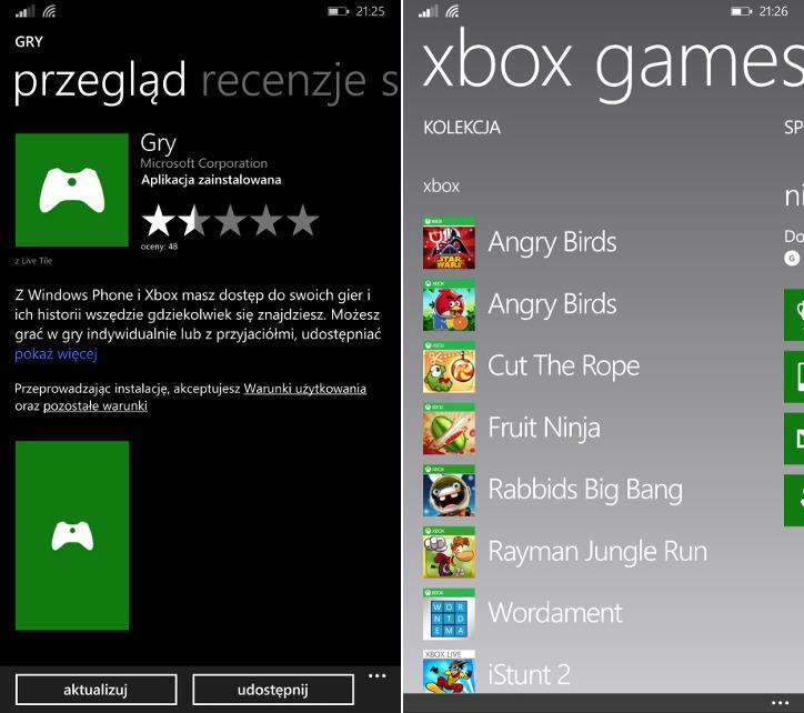 Hub gry Windows Phone