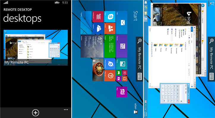 Microsoft Remote Desktop Preview Windows Phone