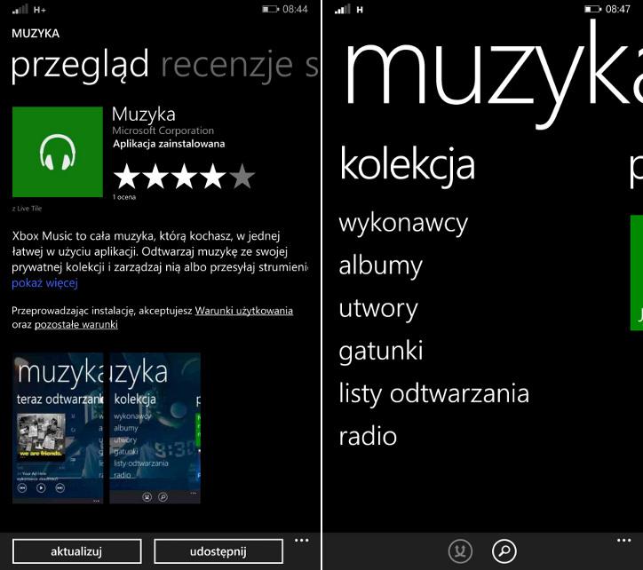 Hub Muzyka Windows Phone 8.1