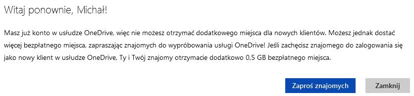 Więcej miejsca OneDrive komunikat