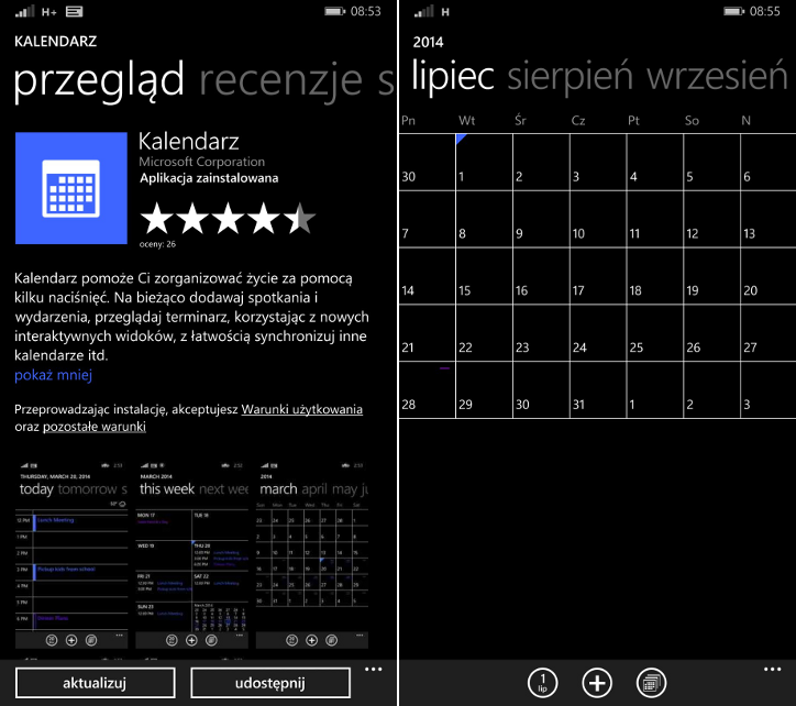 Aktualizacja Kalendarza Windows Phone 8.1