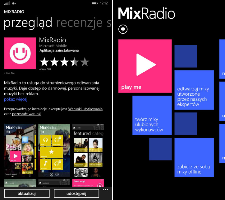 MixRadio Nokia Lumia Windows Phone