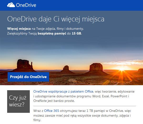 OneDrive - 15GB bezpłatnej przestrzeni
