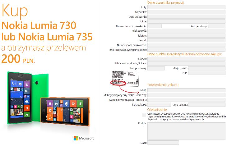 Formularz konkursowy Lumia 730 i Lumia 735