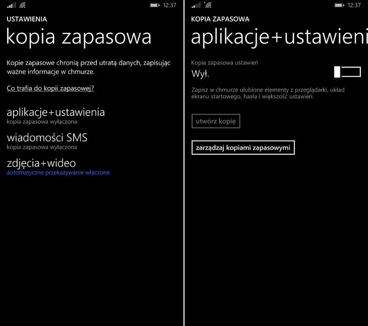 Kopia zapasowa Windows Phone