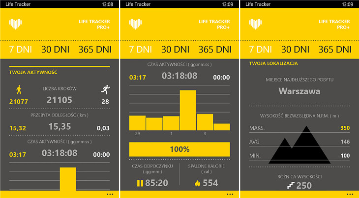 Life Tracker Pro+ dla Windows Phone