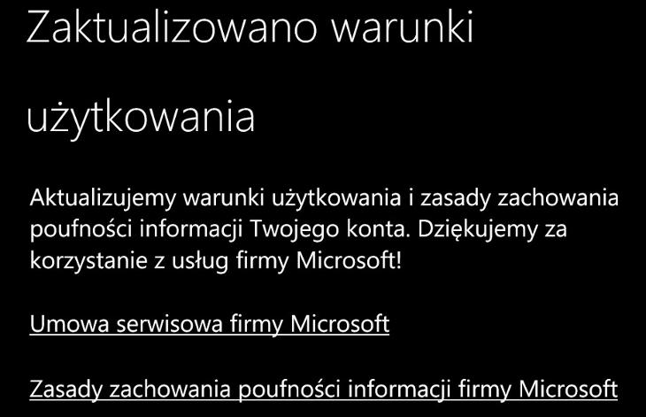 Zaktualizowane warunki użytkowania dla kont Microsoft
