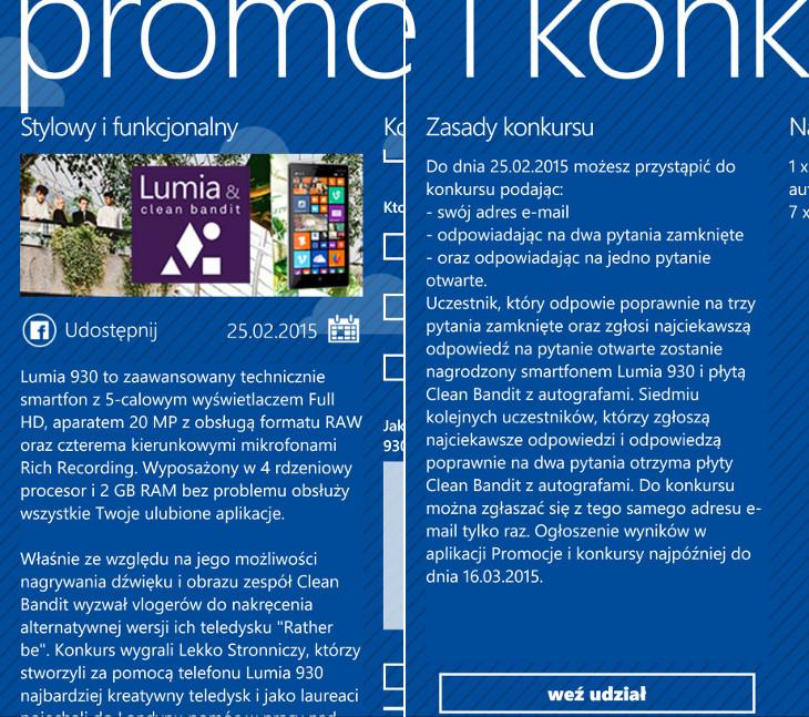 Lumia 930 w aplikacji Promocje i konkursy