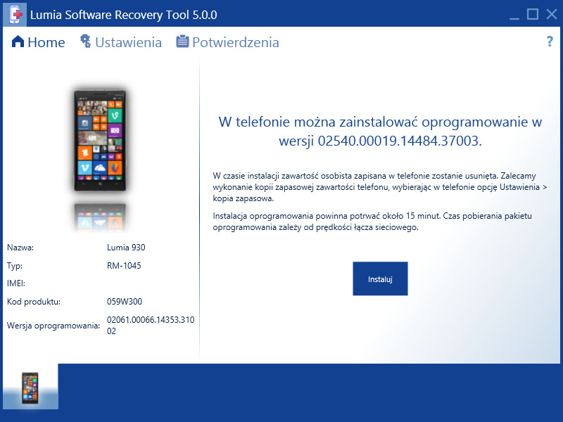 Lumia Software Recovery Tool 5.0.0