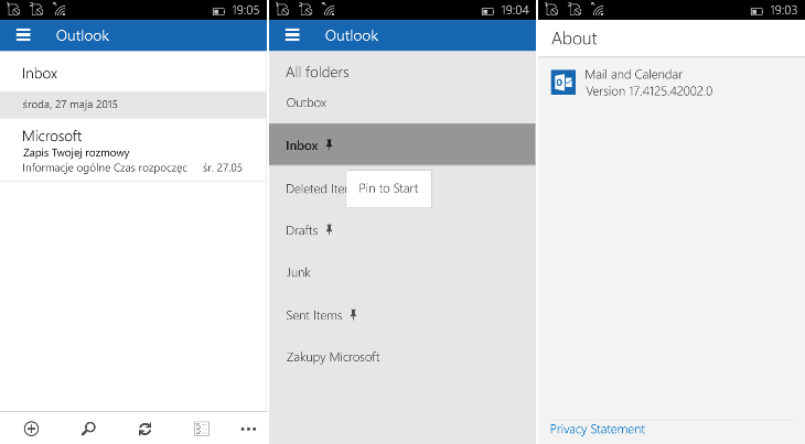 Outlook Mail and Calendar 17.4125.42002.0 dla Windows 10 Mobile