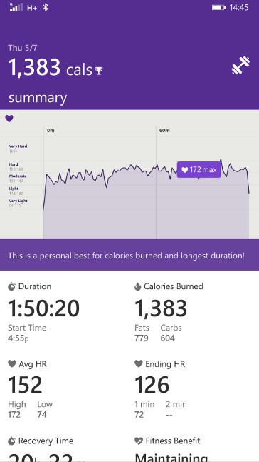 Microsoft Health - trening dowolny