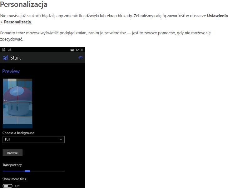 Nowa funkcja Windows 10 Mobile