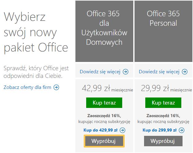Bezpłatna subskrypcja Office 365