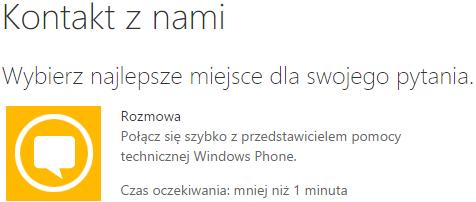 Kontakt z pomocą techniczną Windows Phone