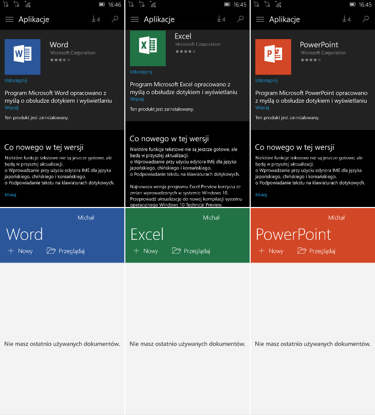 Office Preview - Windows 10 Mobile