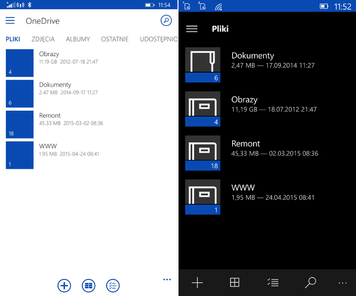 OneDrive - Windows Phone vs Windows 10 Mobile