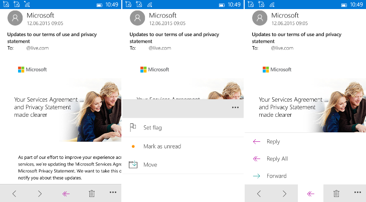 Outlook Mail - Windows 10 Mobile