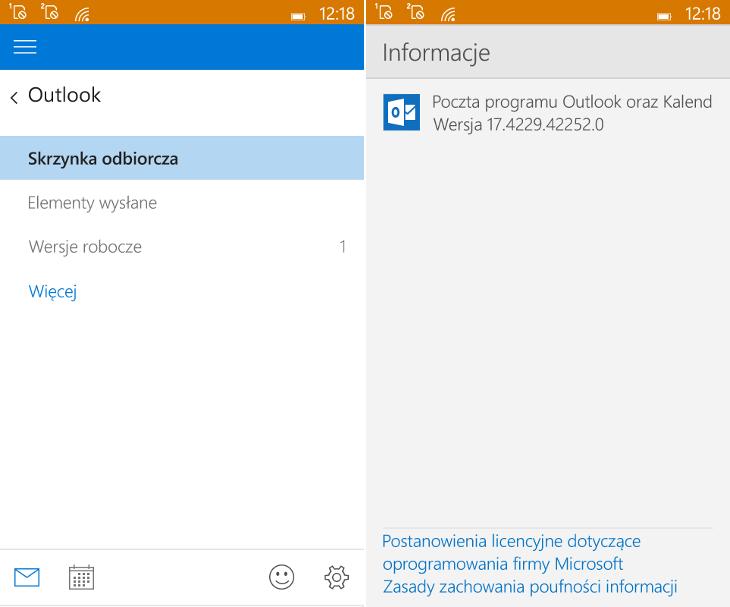 Poczta programu Outlook dla Windows 10 Mobile
