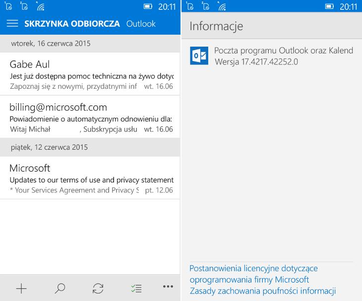 Poczta programu Outlook oraz Kalendarz programu Outlook