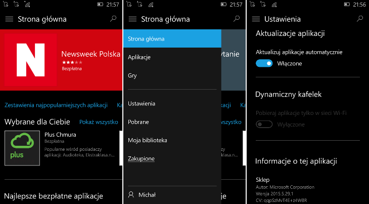 Sklep Windows Beta 2015.5.29.1 dla Windows 10 Mobile