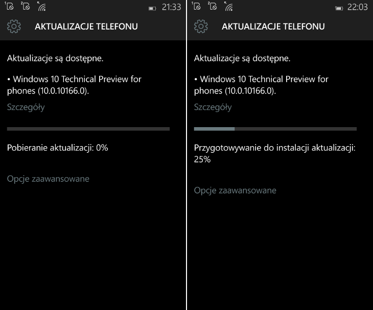 Aktualizacja Windows 10 Mobile Build 10166