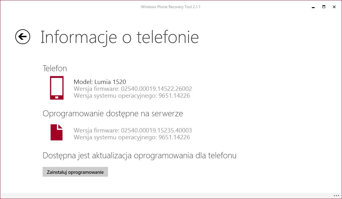 Lumia 1520 nowe oprogramowanie Windows Phone Recovery Tool
