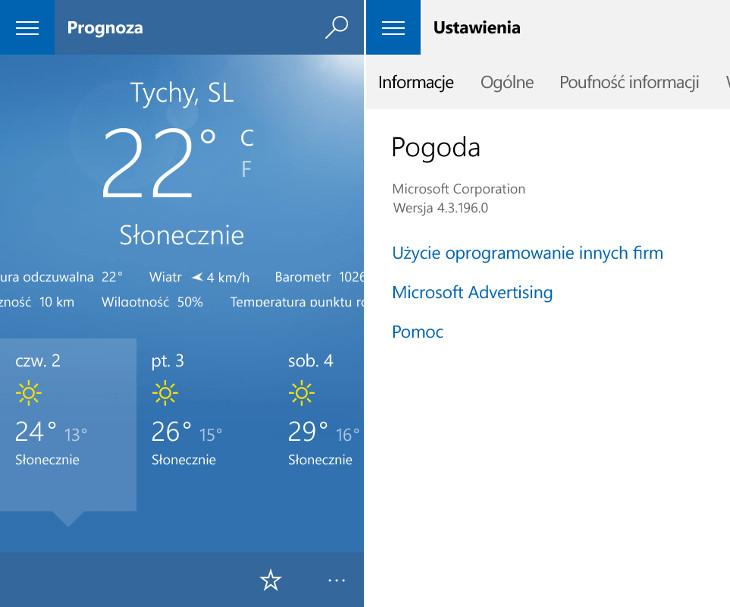 Pogoda Windows 10 Mobile