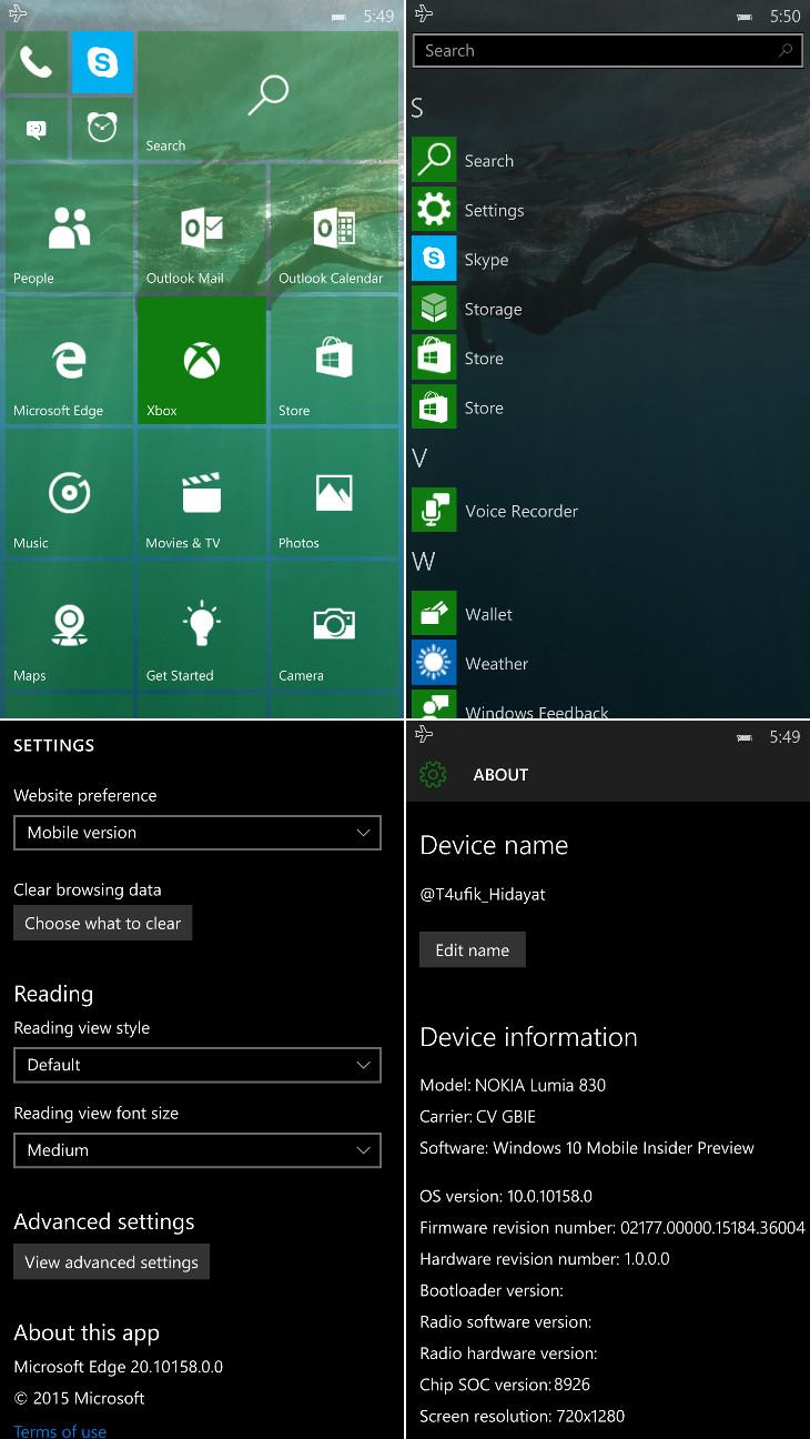 Windows 10 Mobile Build 10158