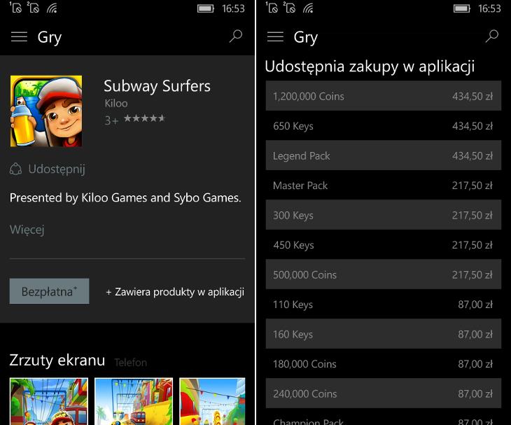 Zakupy w aplikacjach w Windows 10 Mobile