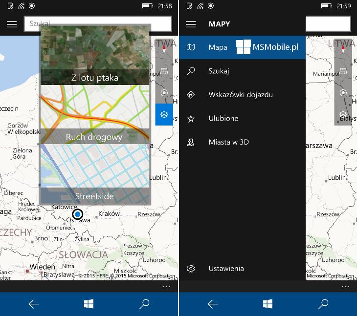 Mapy Windows dla Windows 10 Mobile