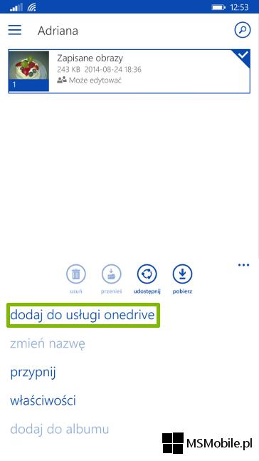 OneDrive Windows Phone - zapisywanie udostępnionego folderu