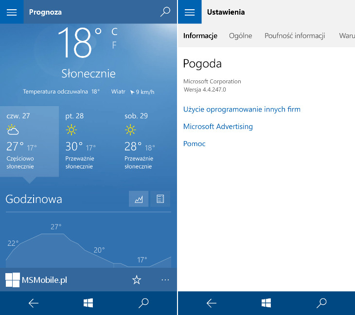 Pogoda Windows 10 Mobile