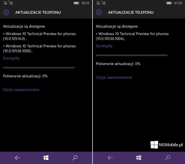 Aktualizacja Windows 10 Mobile Build 10536.1004