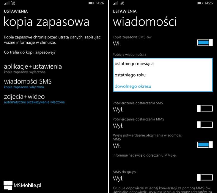 Kopia zapasowa wiadomości SMS i MMS w ustawieniach telefonu