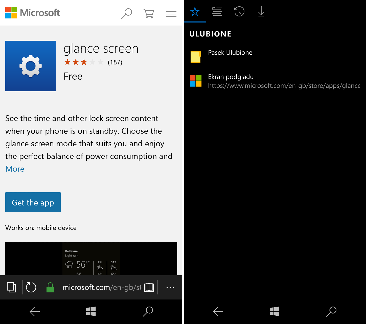 Microsoft Edge - ekran podglądu