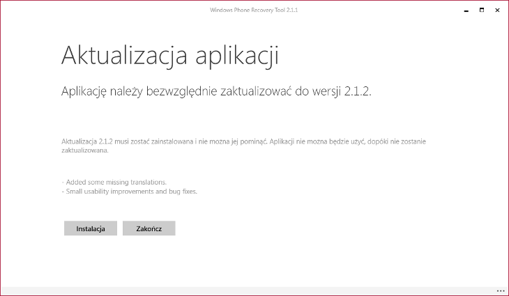 Aktualizacja Windows Phone Recovery Tool