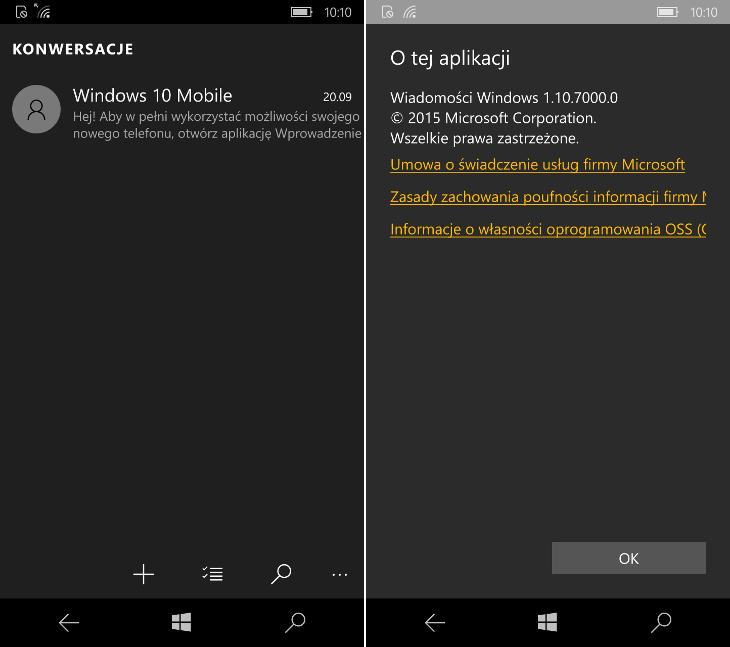 Wiadomości Skype dla Windows 10 Mobile