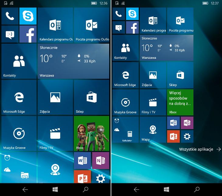 Windows 10 Mobile Build 10549 - więcej kafelków na ekranie startowym