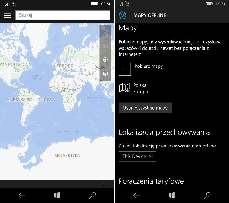 Windows 10 Mobile - zapisywanie map na karcie pamięci
