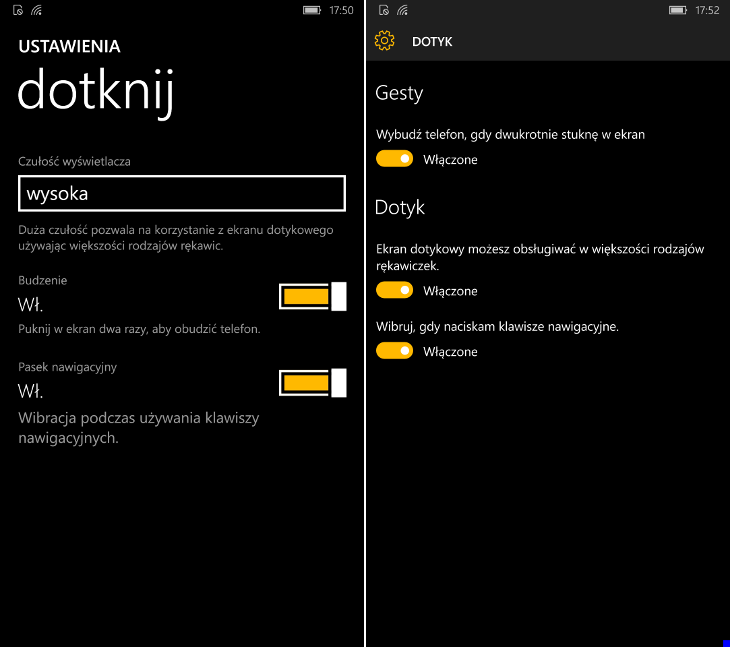 Dotyk - Windows 10 Mobile