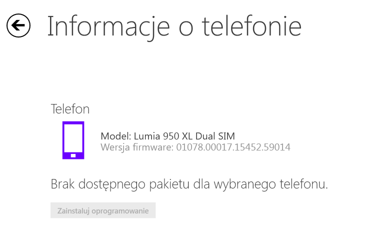 Lumia 950 XL Dual SIM - brak oprogramowania w Windows 10 Mobile