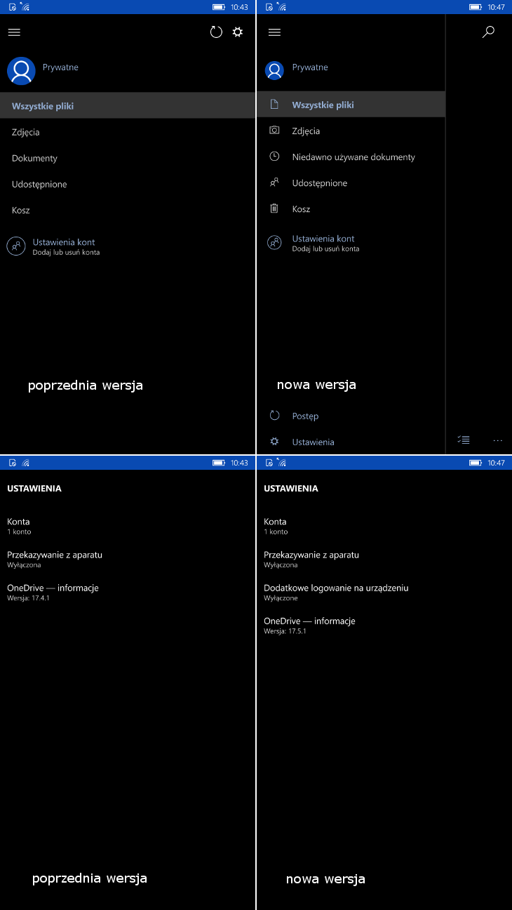 OneDrive 17.5.1 dla Windows 10 Mobile