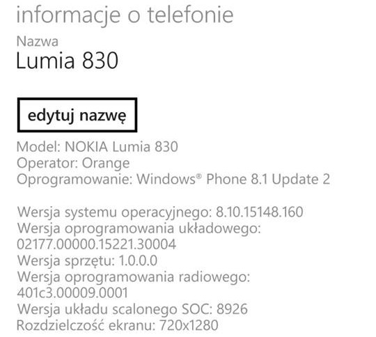 Lumia 830 Orange - Windows Phone 8.1 Update 2