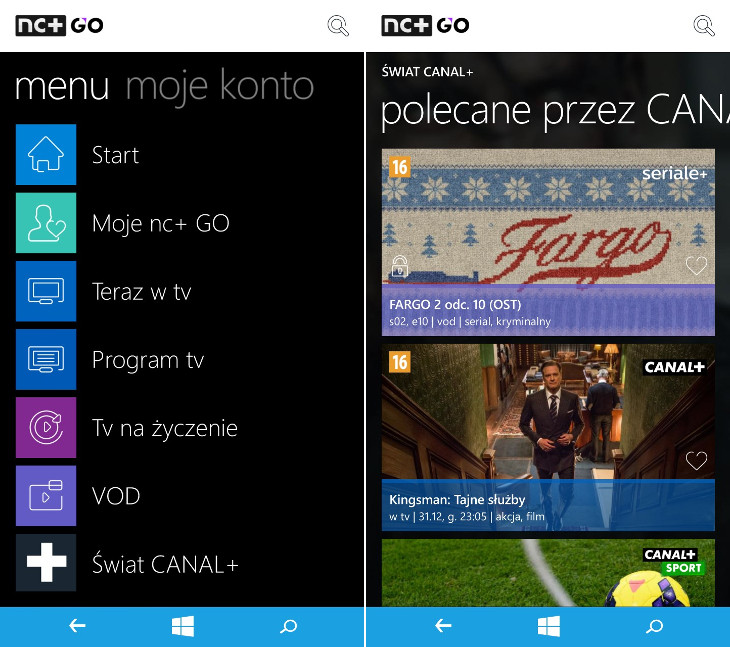 nc+ GO dla Windows Phone
