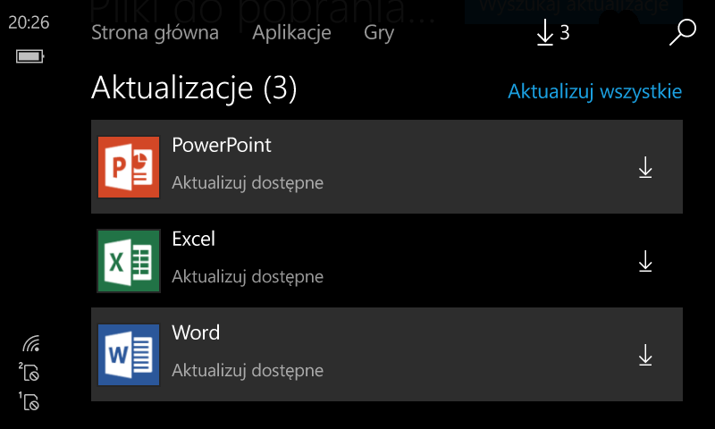 Aktualizacja Office Windows 10 Mobile