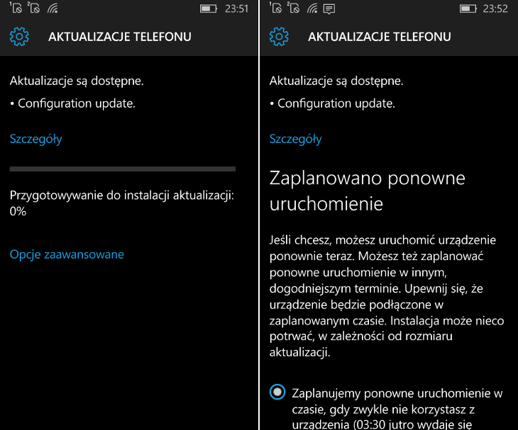 Fast Configuration Update dla Windows 10 Mobile Windows Insider