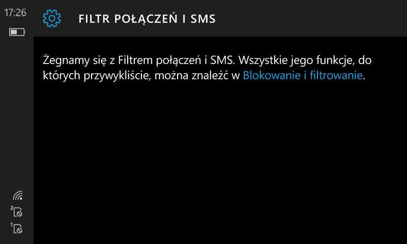 Filtr połączeń+SMS