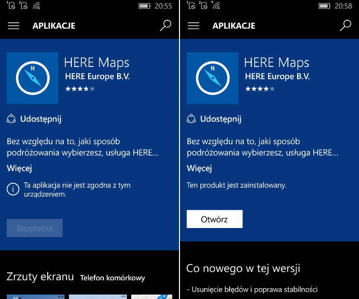 HERE Maps - dwie wersje dla Windows 10 Mobile